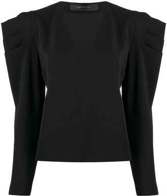 FEDERICA TOSI Long Sleeve Pleat-Detail Blouse