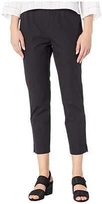 Eileen Fisher Organic Cotton Stretch Twill Mid-Rise Ankle Pants w/ Slits (Black) Women's Casual Pants