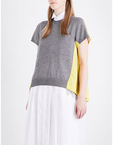 Sacai Two-tone wool and cotton-blend top