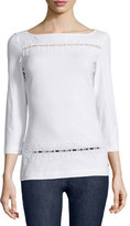 Escada 3/4-Sleeve Embroidered Tee, White