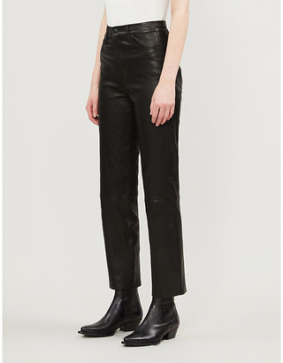 J Brand Jules straight high-rise leather jeans