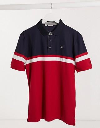 Calvin Klein Golf Pendant polo in red & navy