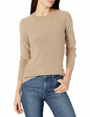 Sag Harbor Women's Long Sleeve Crew Neck Cable Front Pullover