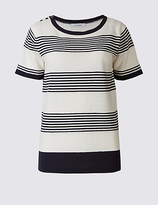 Classic Striped Round Neck Short Sleeve Jumper