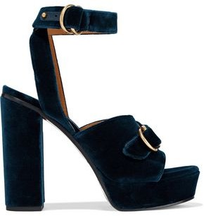 Chloé Kingsley Buckled Velvet Platform Sandals