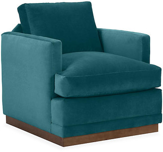 One Kings Lane Shaw Swivel Club Chair - Peacock Velvet