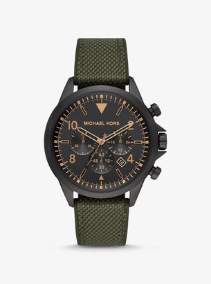 Michael Kors Oversized Gage Black-Tone and Woven Watch