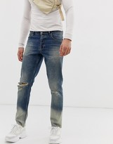Asos Design DESIGN slim jeans in ombre bleach wash with knee rips
