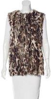 Adrienne Landau Leopard Print Fur Vest