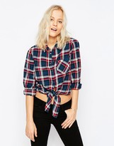 Noisy May Erik Tie Front Check Shirt