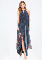 Bebe Print Double Layer Dress