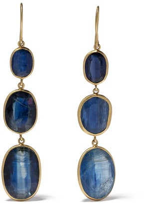Pippa Small 18kt Yellow Gold Blue Gemstone Drop Earrings