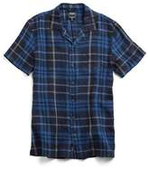 Todd Snyder Short Sleeve Camp Collar Shirt in Navy-Black Plaid