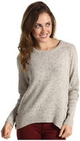 Autumn Cashmere - Hi Lo with Side Button Suede Elbow Patches (Pebble) - Apparel