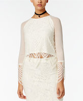 Material Girl Juniors' Lace Asymmetrical-Hem Top, Only at Macy's