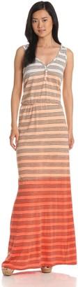 LAmade Women's Slub Jersey Ombre Stripe Double V-Maxi Dress