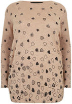 Yours Clothing YoursClothing Plus Size Womens Oatmeal Embellished Heart Print Knit Jumper