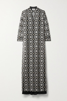 Tory Burch Embellished Satin-trimmed Organza Maxi Dress - Black