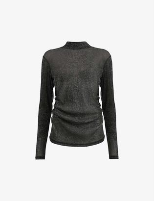 AllSaints Francesco metallic woven top