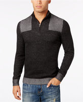 INC International Concepts Men's Quarter-Zip Ribbed-Shoulder Sweater, Only at Macy's