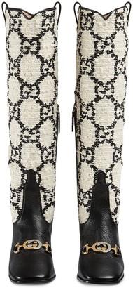 Gucci Zumi GG tweed knee-high boots