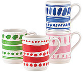Kate Spade All in Good Taste Stackable Stoneware Mugs, Set of 4