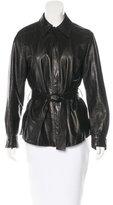 Loro Piana Leather Belted Jacket