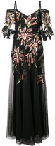 Marchesa applique detail evening dress
