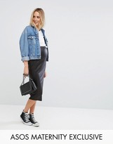 Asos Over The Bump Wetlook Midi Skirt