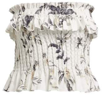 Sir - Marele Smocked Floral Print Linen Top - Womens - White Multi