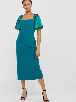 Monsoon Eliza Organza Puff Sleeve Column Dress - Teal