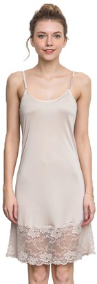 Hoffen 100% Silk Women's Adjustable Spaghetti Straps Lace Full Slip Sleepwear Petticoat (L