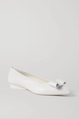 Salvatore Ferragamo Viva Bow-embellished Leather Point-toe Flats - White