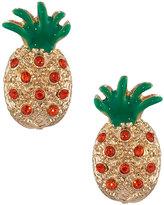 Lydell NYC Crystal Pineapple Stud Earrings, Orange