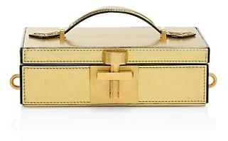 Oscar de la Renta Alibi Lame Leather Box Clutch