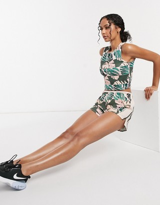 Nike Running 10k runway shorts with palm print in pink