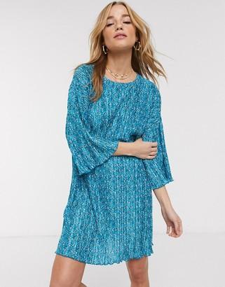 Asos DESIGN plisse huge t-shirt mini dress in blue ditsy print
