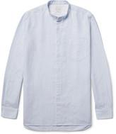 Paul Smith Slim-fit Grandad-collar Slub Cotton Shirt - Sky blue