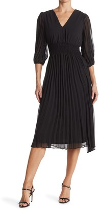 Taylor Solid Pleated Chiffon Dress