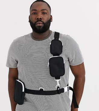 Asos Design DESIGN Plus cross body multi pocket harness bag in black with white contrast zips
