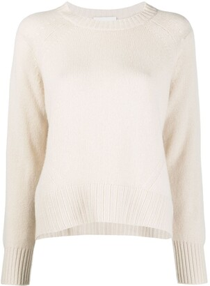 Allude Ribbed-Knit Edge Round Neck Jumper