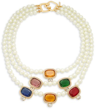 Kenneth Jay Lane Goldtone Faux Pearl & Faux Gemstone Necklace