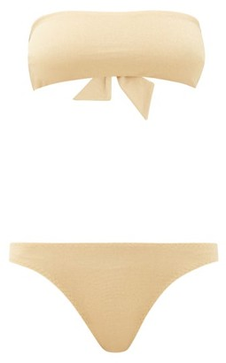 My Beachy Side - Bandeau Metallic Bikini - Gold