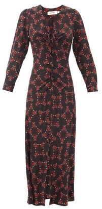 Cefinn Ophelia Floral-print Silk-twill Midi Dress - Black Red