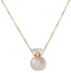 "LeVian Le Vian Rose Quartz Perfume Jewelry Bottle 20""-24"" Pendant Necklace (10 ct. t.w.) in 14K Rose Gold-Plated Silver"