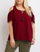Charlotte Russe Plus Size Tassel-Tie Cold Shoulder Top