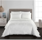 Carmina Stitched Fish Scale Pattern With Ruching Ruffled Details Twin Quilt - Cream