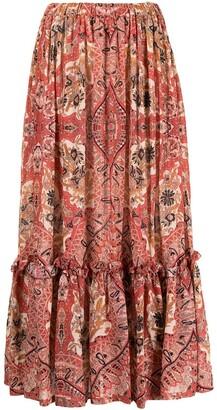 Etro Paisley Print Tiered Midi Skirt