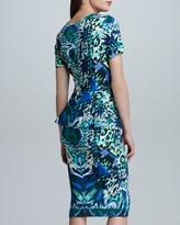 Fuzzi Printed Satin Peplum Sheath Dress, Blue