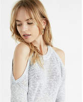 Express Open Stitch Cold Shoulder Crew Neck Sweater